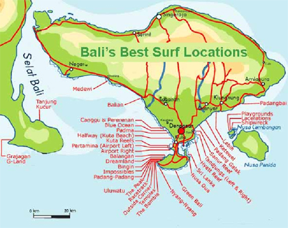 Map of Sanur Bali Bali Surfing Map Courtesy of