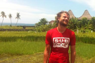 Mathias front of eHomestay canggu with rice field + sea view